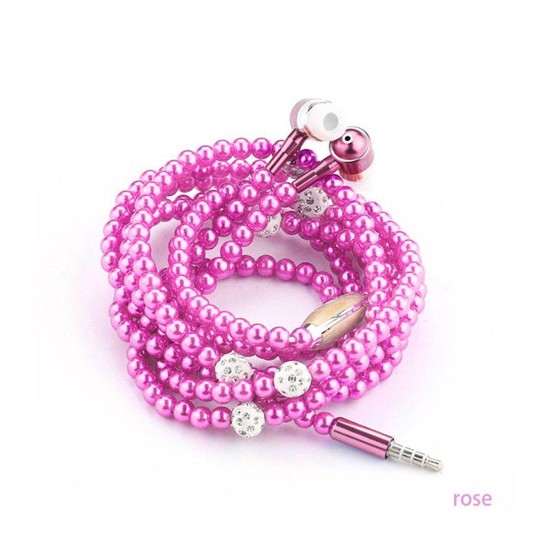 Strass Schmuck Perlenkette Kopfhörer mit Mikrofon Rosa Mädchen Ohrhörer Kopfhörer für Iphone Huawei XiaoMi beste Geschenk