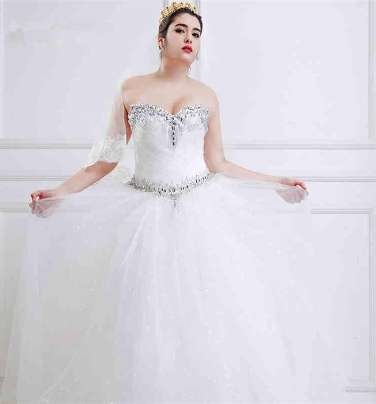 Wedding Gowns For Full Figured Brides: White Tulle Full Figured Wedding Dresses With Crystal