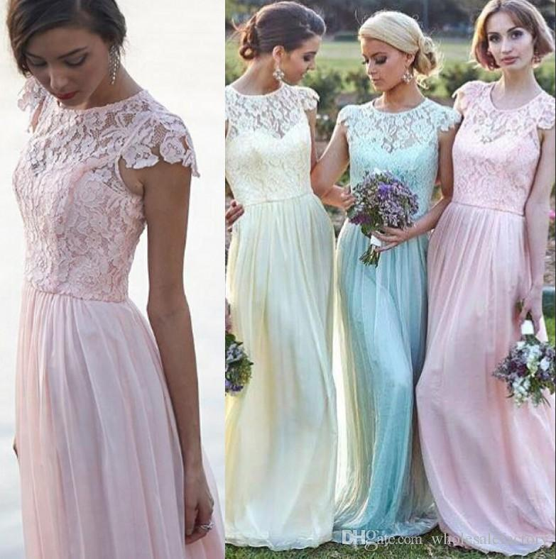 Pastel Ice Blue Blush Bridesmaid Dresses 2017 Crew Neck Cap ...