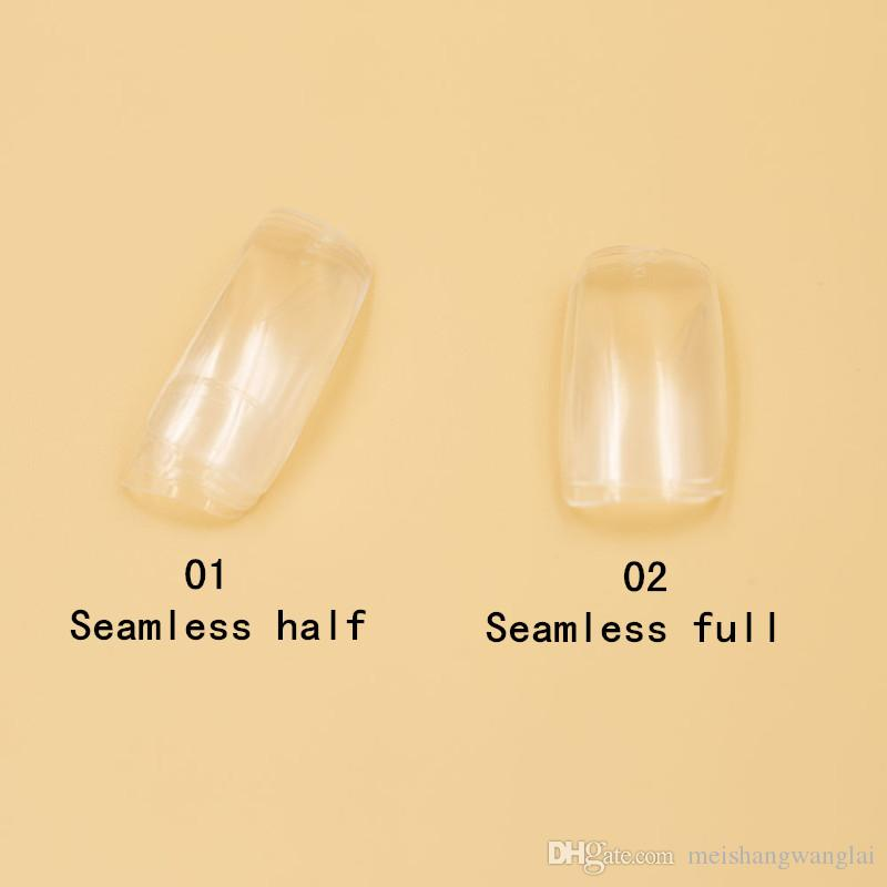 Unghie finte Mezze unghie Art False punte in acrilico finte unghie 2 borse 500 pezzi / borsa Senza cuciture Clear FullHalf Cover Nail G4