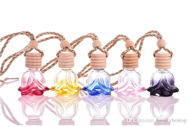 Heißer Verkauf 50 stücke Leere Fall Pandent Parfüm Flasche, Kreative Glas Parfüm Auto Dekoration, Blume Form Glas Auto Parfüm Nachfüllbare Flasche