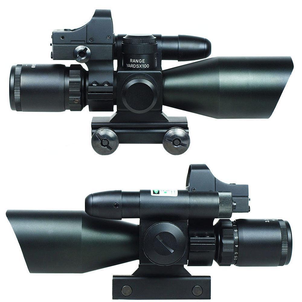 2.5-10X40 نطاق بندقية التكتيكية ث / ليزر أخضر البسيطة ريفلكس 3 وزارة الزراعة البصر ريد دوت