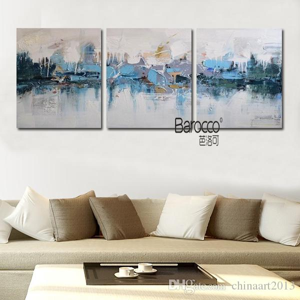 Hand Painted Scenery Oil Painting Abstract Blue Village Modern Home Wall Decoration No Framed