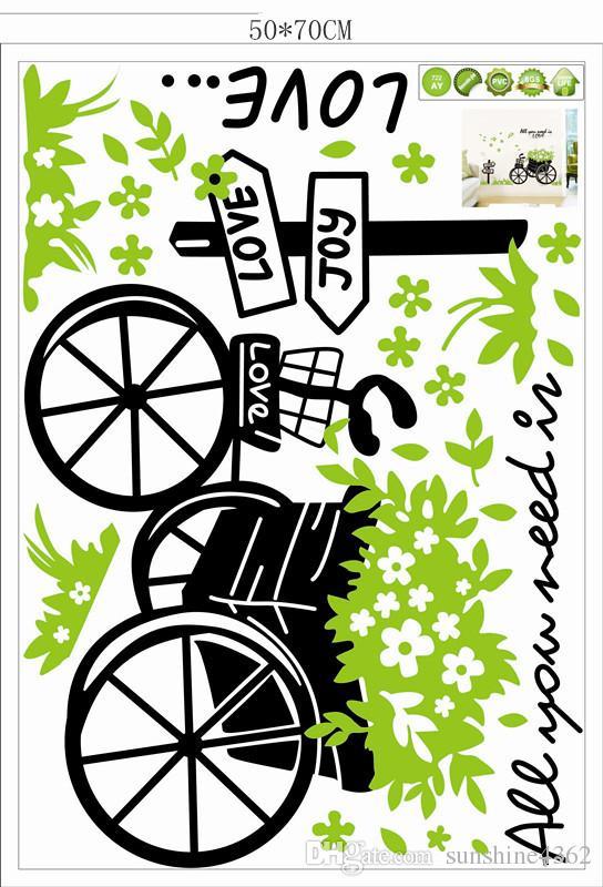 2016 حار! ثلاثة أجيال من ملصقات الحائط القابلة للإزالة غرفة المعيشة زينت يطفو ملصقات الحائط الجدار الأخضر