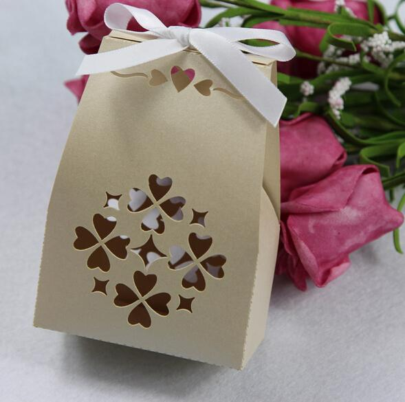 Laser Cut Candy Boxes Bow white Ribbon Favor Holders For Wedding Gifts Holders Box Supplies Cheap In stock