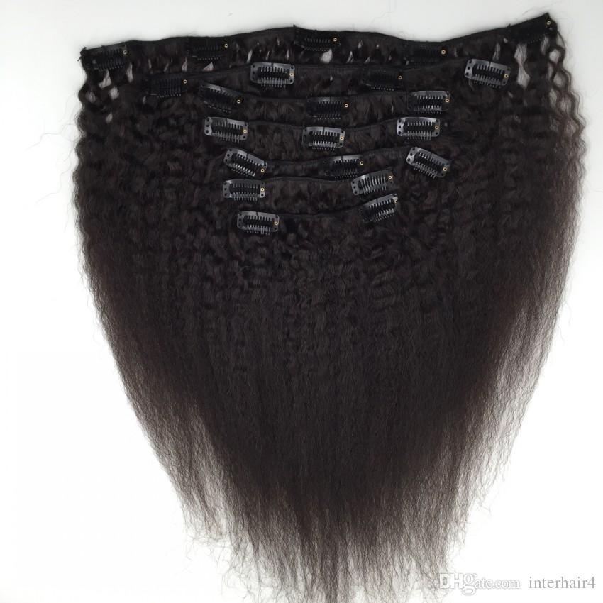 Grampo em linha reta Kinky virgem brasileira nas extensões do cabelo, grampo de Yaki do cabelo humano de 100% nas extensões, / set, cor 1B