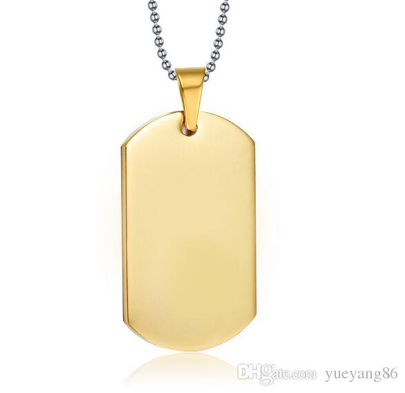 Высокий класс никогда не исчезают позолоченные 316L нержавеющая сталь 40 мм * 20 мм армия собака тег кулон ожерелье унисекс мода классические хобби подарки