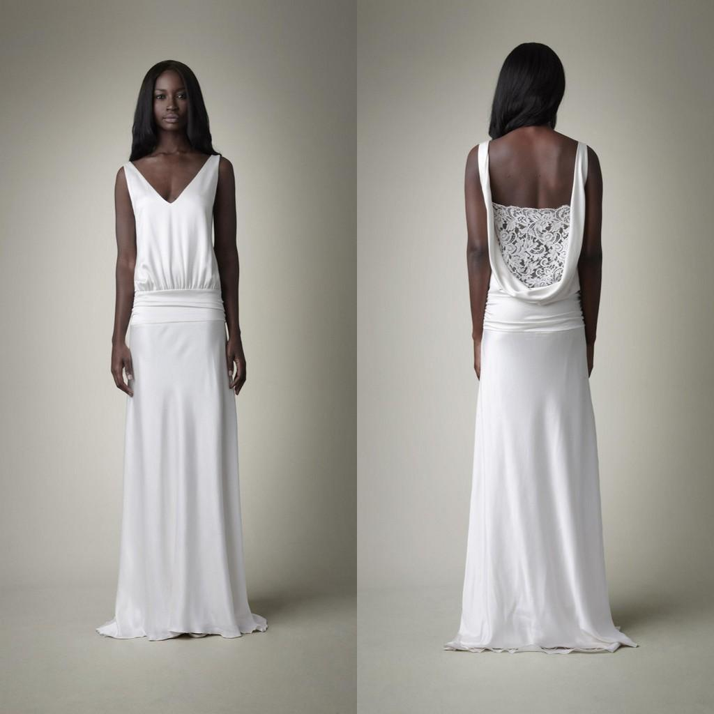 Drop Sleeve Wedding Gowns With: 2015 New Drop Waist Wedding Gown Sheath V Neck Sleeveless
