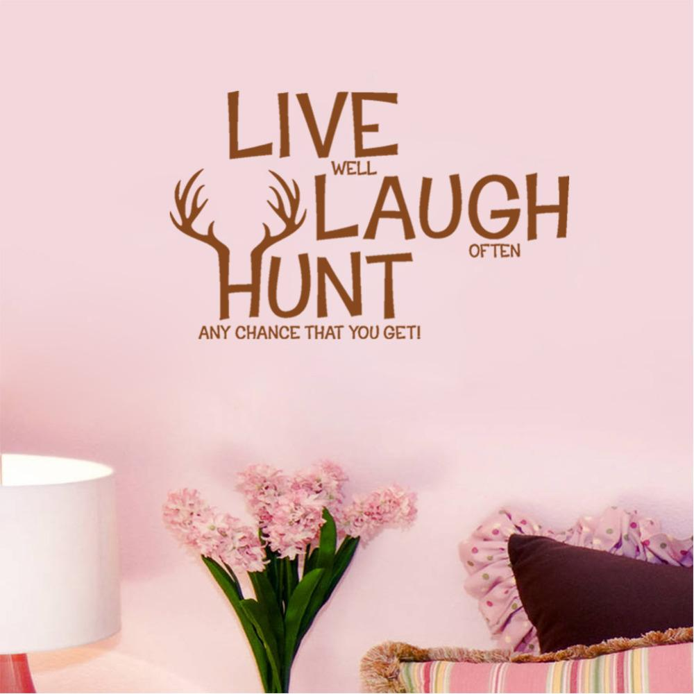 Retail Live Laugh Hunt Deer Wall Decals Quotes Pvc Removable Art Home Stickers Room Decor For Kids From Mr Mo