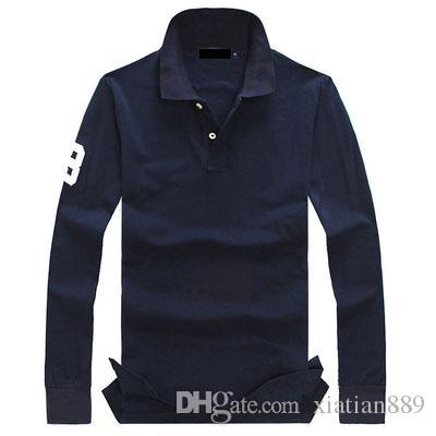 plus la taille 19 couleurs polo hommes couleur unie occasionnels polo livraison gratuite à manches longues chemise en coton d'été hommes broderie chemise décontractée