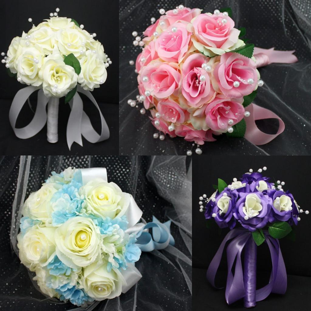 2015 beautiful bridal bouquets in stock european and american 2015 beautiful bridal bouquets in stock european and american wedding bouquets 4 styles silk rose pearls ribbon 2130cm flowers delivered mothers day izmirmasajfo