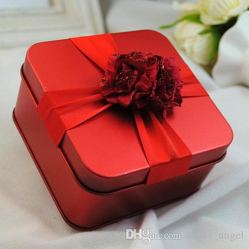 New Metal Candy Boxes Square with Flowers Gold Red Purple Tiffane Blue Color Wedding Beautiful Favor Box Gift Box wedding Supplies Favors
