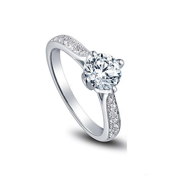무료 배송 미국의 GIA 인증서 18K 화이트 골드 여성, 하트와 화살을위한 1 ct moissanite 약혼 반지, 결혼 반지