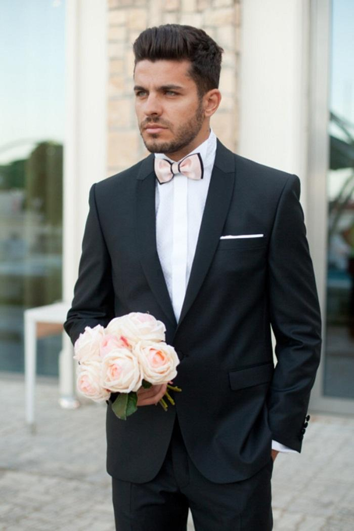 New Style Mens Suits Shawl Lapel Tuxedos Black Wedding Suits For ...