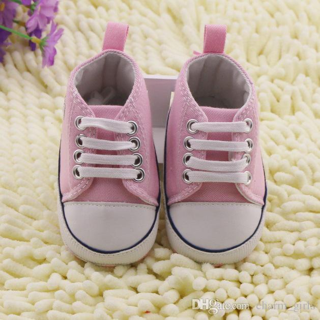 Ventes chaudes blanc rose bleu rouge pentagramme modèle bambin chaussures 0-24 mois bébé usure pas cher chaussures = /