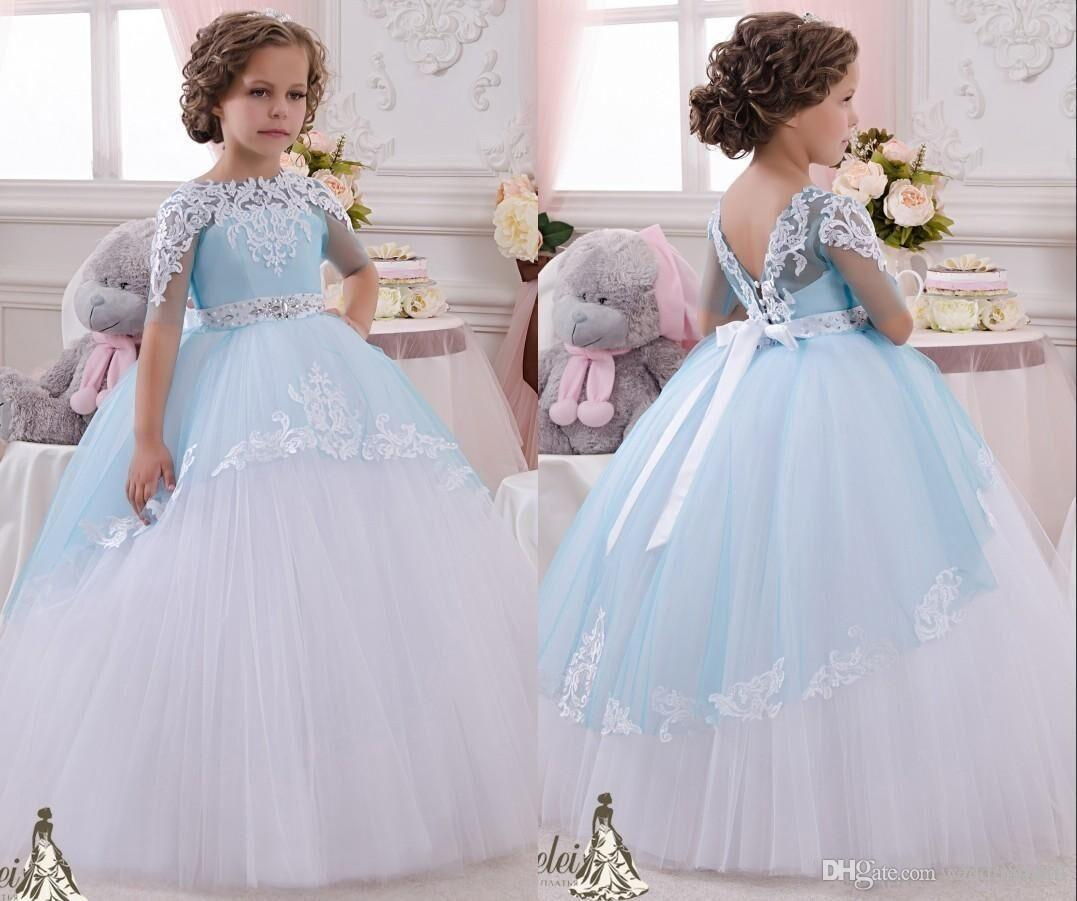Half Sleeve Sky Blue Flower Girls Dresses Beaded Crystals Lace ...