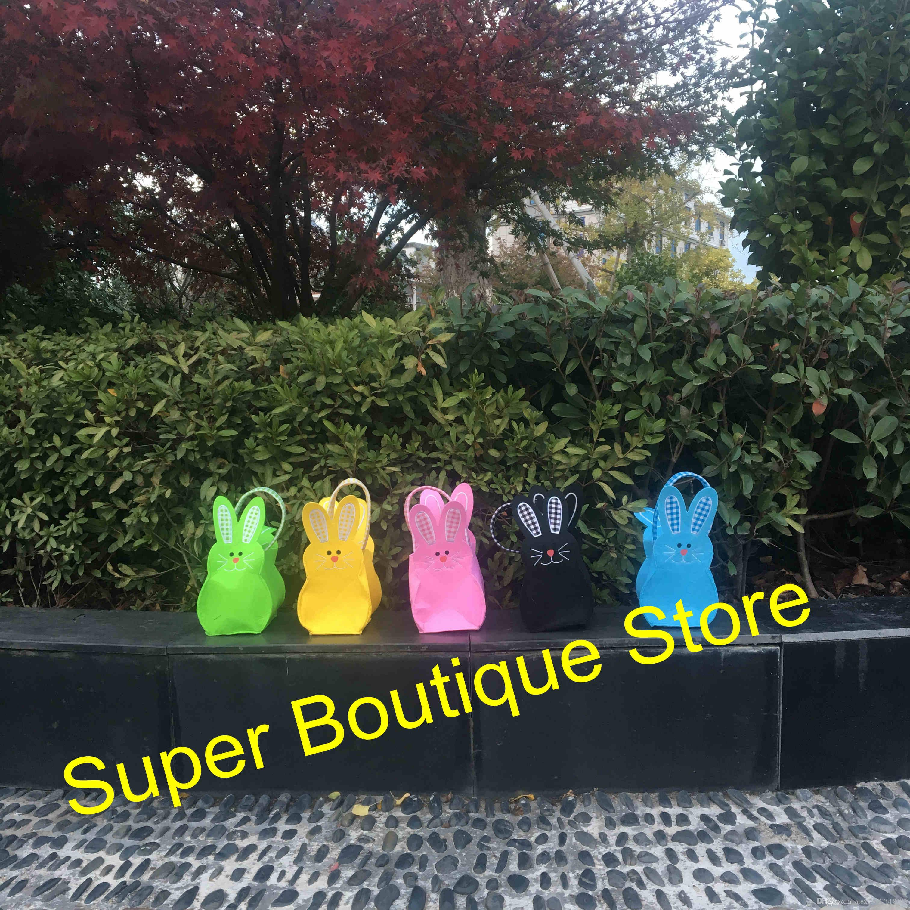 2018 Easter day new arrival felt material easter bunny bucket kids candy gift bags easter egg storage tote bag