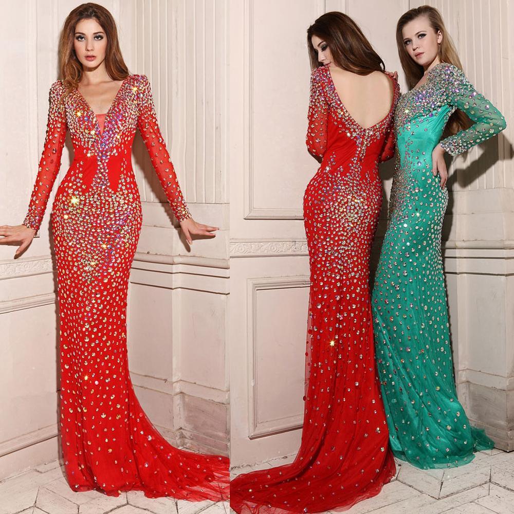 Sparkly Custom Made Evening Dresses Red Green V Neck ...