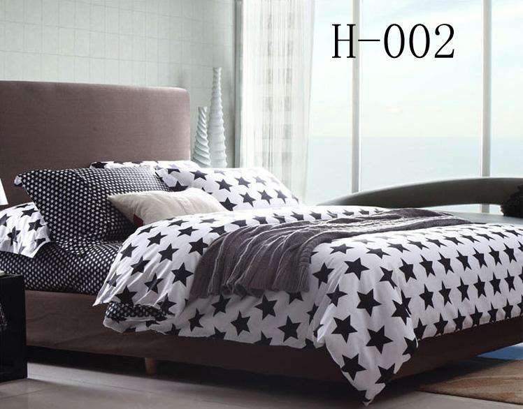 black white stars full queen king size 100cotton bedding sets bedclorthes sets sheet duvet cover pillowcase home textiles bed in a bag king duvet cover set