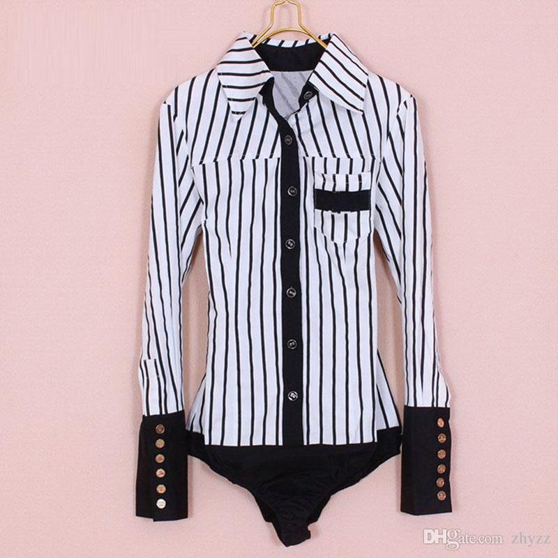 Classic Fashion Striped Long Sleeved Formal Bodysuit Blouse OL Slim Business Button Down Shirts Jumpsuit S / M / L / XL/XXL
