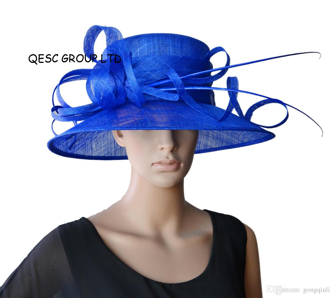 Royal Blue Wide Brim Church Hat Sinamay Hat For Kentucky Derby 865e54ede58