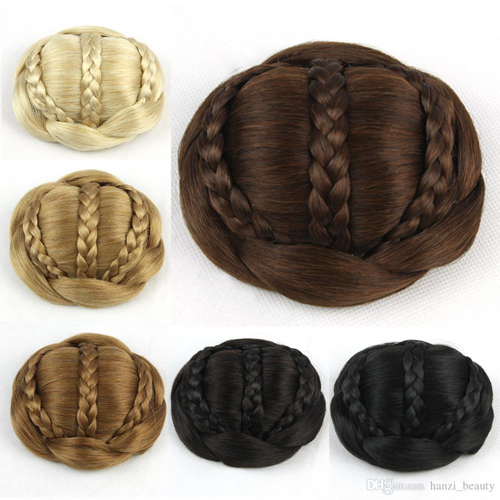 Brown Braided Chignon Clip Bun Donut Hair Roller Party Hair Accessories for Women