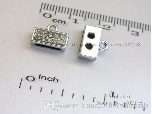 50 sztuk Srebrny Kolor Zwykły Kryształ Z Cynku Cynku Złącze Cyng 8mm Slide Charms DIY Akcesoria Fit 8mm Pet Collar Wristband Brelok
