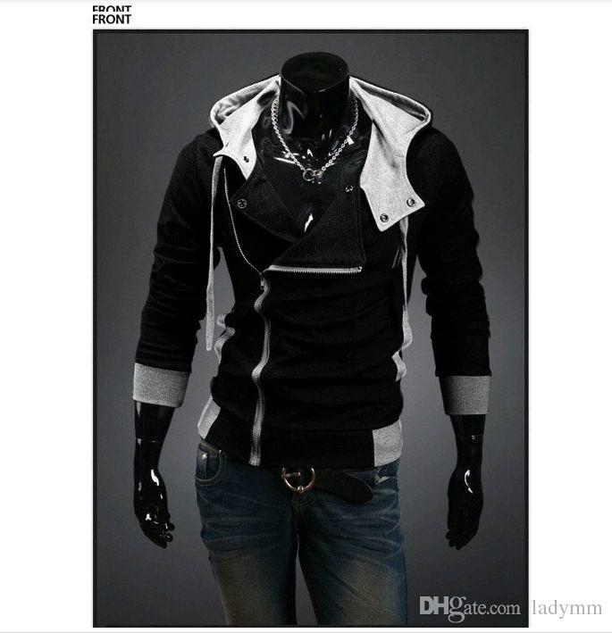 بالإضافة إلى حجم M-6XL جديد حار رجل تصميم قبعة شخصية ضئيلة هوديس وبلوزات سترة سترة القتلة العقيدة معطف