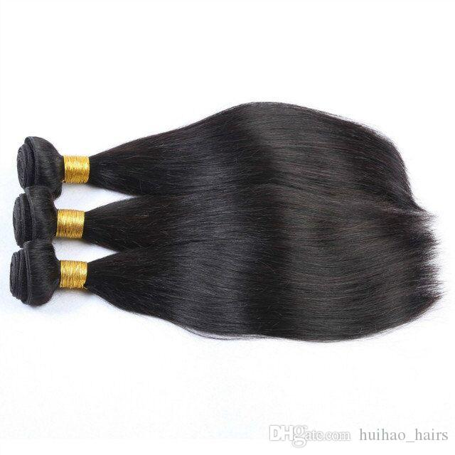 9A Brazilian Human Hair 12-30inch Straight Natural Black Color Machine Double Weft 3 Bundles for Beautiful Black Women