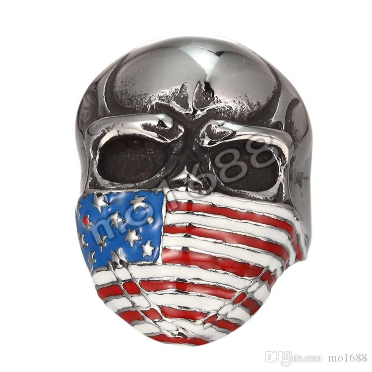 Spedizione gratuita! Anello americano degli uomini del motociclista del motore dell'acciaio inossidabile dei gioielli dell'acciaio inossidabile dell'anello del cranio della bandiera americana Commercio all'ingrosso