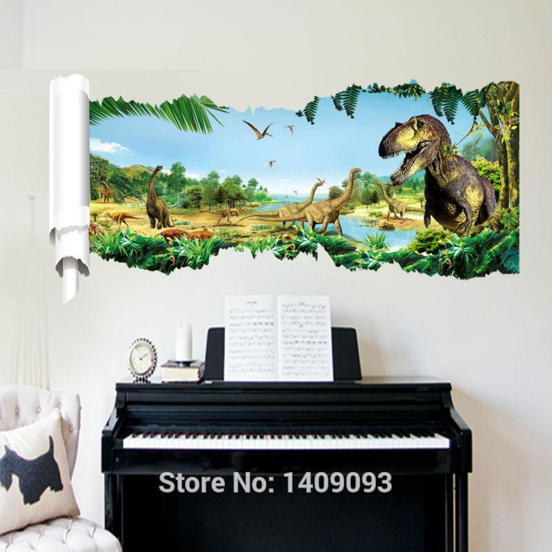 Large 3d wall stickers vinyl poster for wall 3d jurassic world kids wall decals bedroom decor home decoration girls wall decals girls wall stickers from