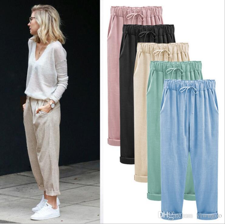9961fd4d06a2e 2019 Fashion Elastic Waist Women Casual Pants Cotton Linen Loose Harem Pants  Long Trousers Plus Size Pants From Yiwugoo