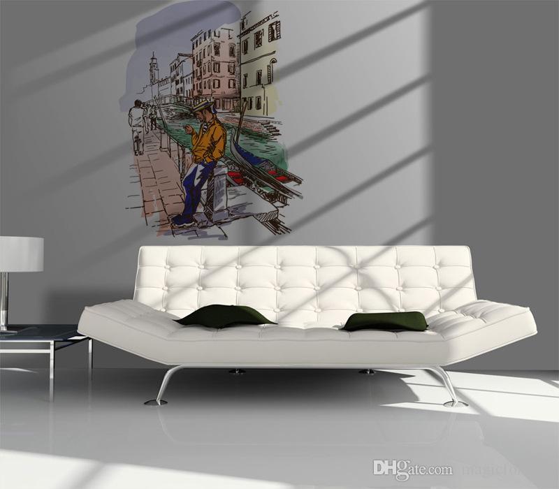 도시 벽 아트 벽화 장식 스티커 3D 스테레오 도시 벽 데칼 거실 침실 벽 문신 95 x 120cm