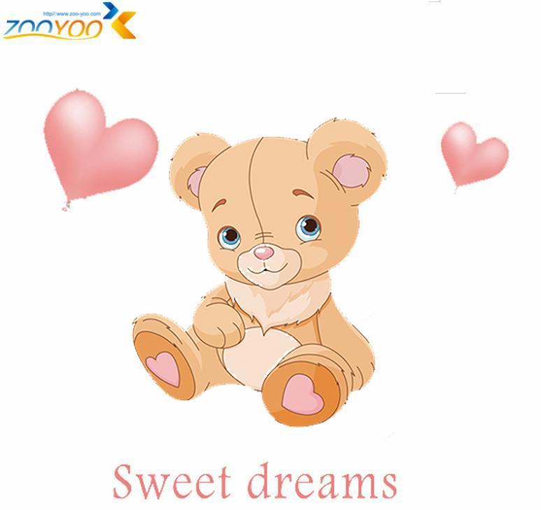 Preferred Sweet Dreams Loving Bear 3d Cartoon Wall Stickers For Kids Room  NA19
