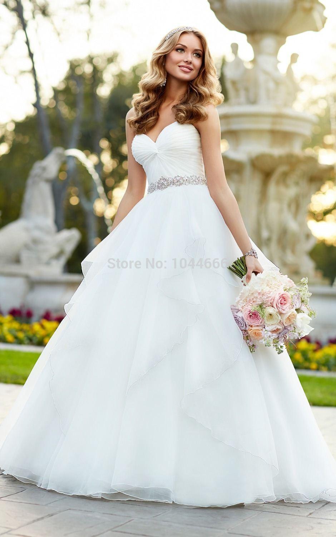 Stella York Designer Wedding Dress 2015 Beading White Organza ...