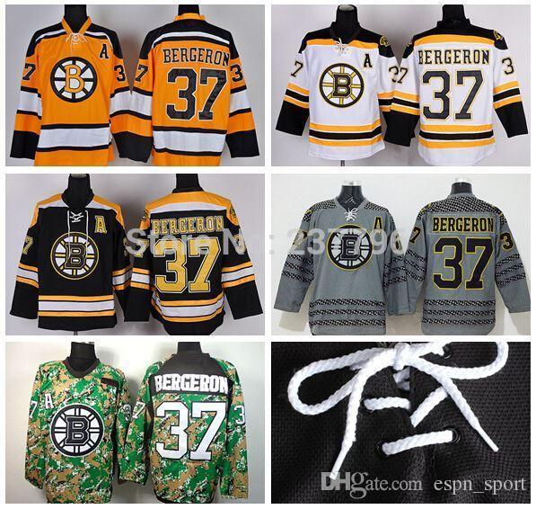 Großhandel 2015 Männer Eishockey 37 Patrice Bergeron Jersey Boston Bruins  Trikots Beste Qualität Team Schwarz Weiß Grau Gelb Bergeron Bruins Jersey  Von ... 44b098d03b4