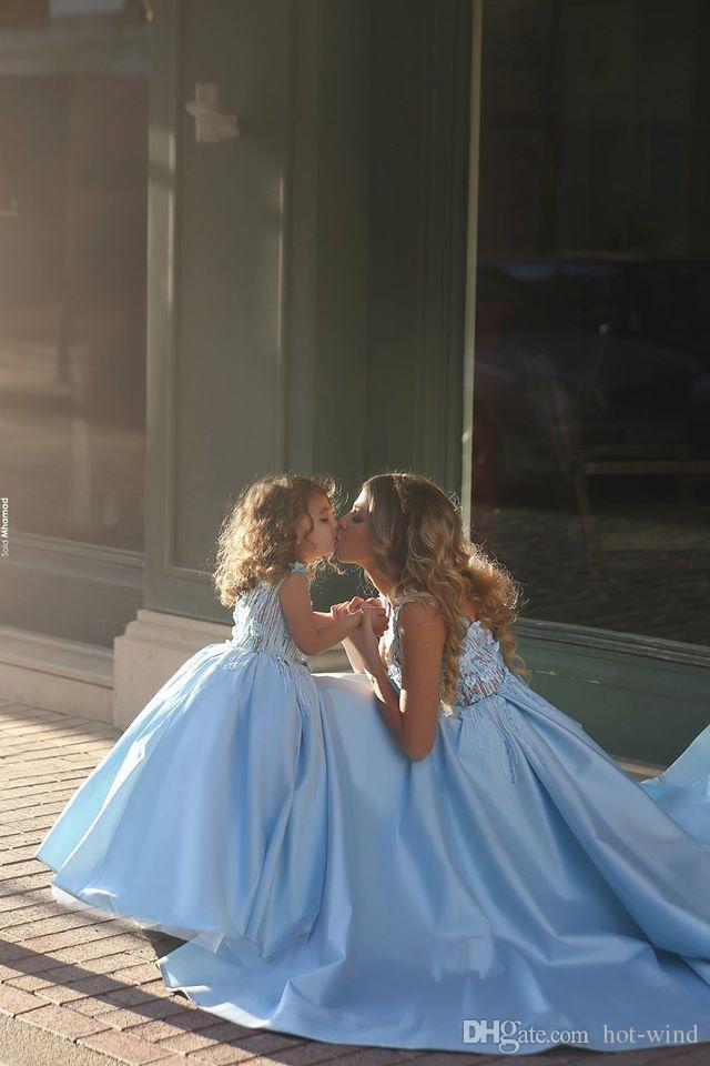 Cute Glitz Light Blue A-line Flower Girl Dresses For Little Girl Mother And Daughter Dresses Girls Pageant Dresses Communion Dresses BA1763