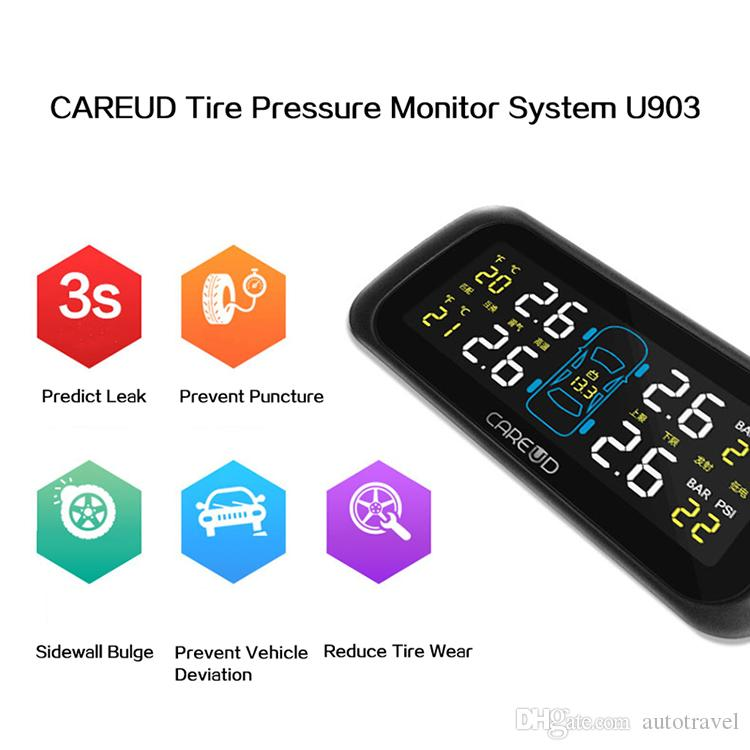 CAREUD U903 TPMS Wireless Tire Pressure Monitoring System Car Mini External Sensors No Need to Disassemble the Tires Auto