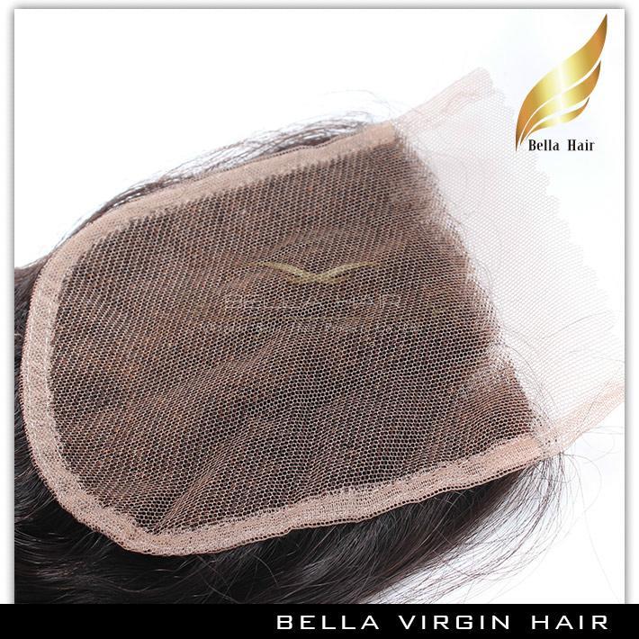 閉鎖ブラジルの伸びのあるベラヘアー®8aの髪の束緯糸トップレースブラックルースウェーブ