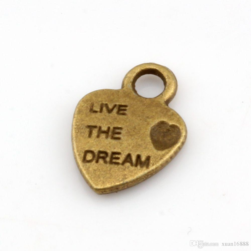 Горячей ! Античное бронзовое мини-сердце «Live Dream» Шармы 9x12,5 мм DIY Jewelry