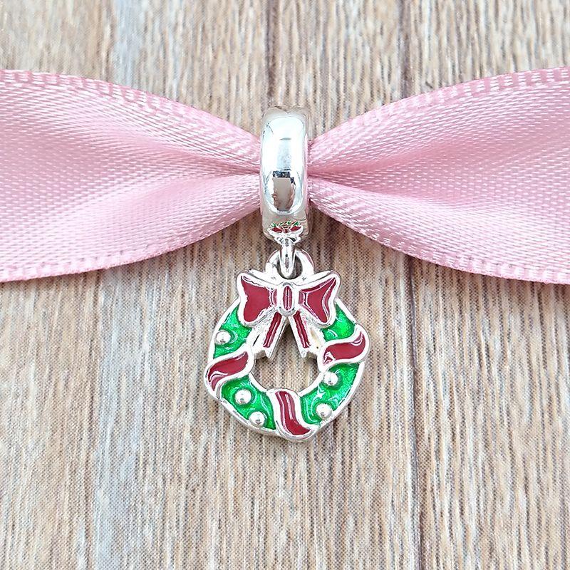 Natal 925 Grânulos De Prata Esterlina Do Feriado Grinalda Pingente Encantos Serve Pulseiras Colar de Jóias Pandora Estilo Europeu 796362ENMX