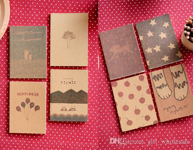 2015 8 Styles Mix Korean Stationery New Vintage Style Kraft Paper Paint Pattern Notebook/ Paper Notepad