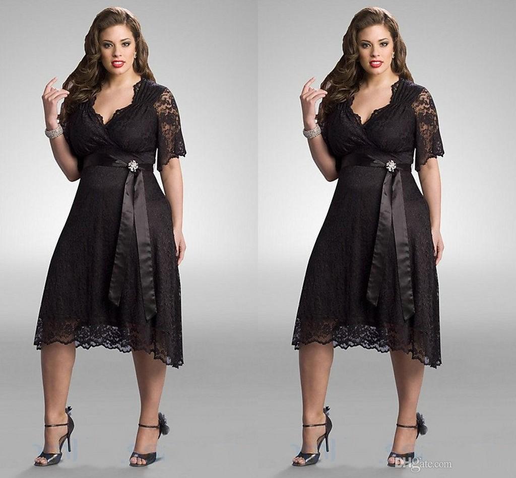 Tea Length Plus Size Dresses 2016 V Neck Half Sleeve Lace Ribbon