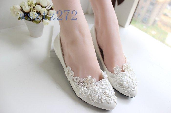 2015 Elegant Lace Wedding Shoes Ivory For Woman Bridal Flat