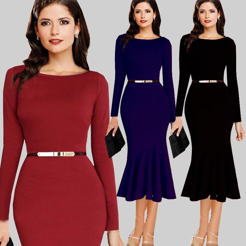 aaa4fa7f4c80 2019 New Winter  Autumn Long Sleeve Formal Dress Vintage Office Dress Women  Work Rockabilly Bodycon Shift Wiggle Pencil Midi Dress With Belt From ...