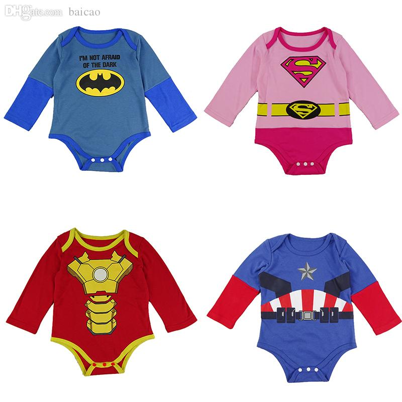 5dbf661ce Wholesale-Superhero Baby Bodysuit Batman Super women Iron man Captain  America New Born Baby Clothes