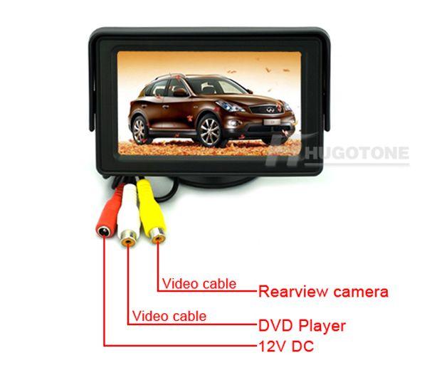 4,3-Zoll-Auto-Monitor-wasserdichte Rückfahrkamera-Monitor-drahtloses Parken-Rückfahrkamera-2-Videosystem