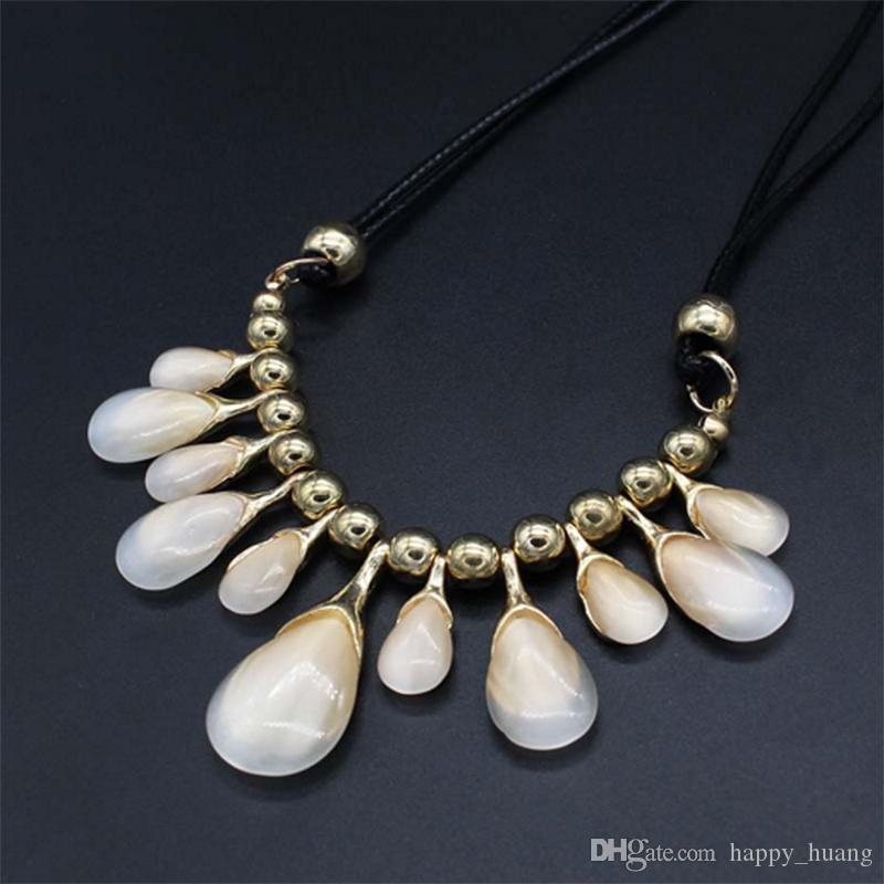 New fashion cat's eye drops short section of the classic clavicle chain exaggerated fashion gem jewelry necklace female