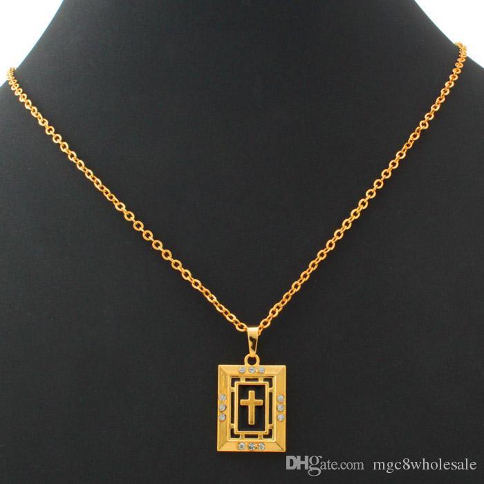 U7 Christian Cross Pendant Necklace for Women/Men 18K Gold/Platinum Plated Rhinestone Fashion Religious Accessories Jewelry P281
