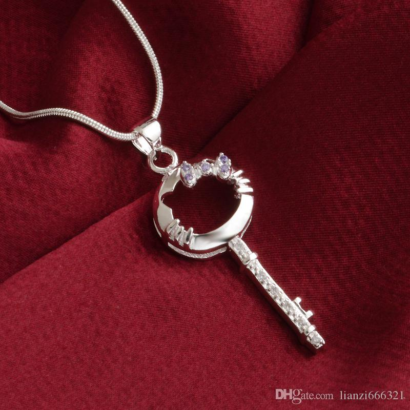 fashion high quality 925 silverl cat Key Purple diamond jewelry 925 silver necklace Valentine's Day holiday gifts Hot 1699